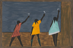 "Jacob Lawrence. In the North the Negro had better educational facilities, from The Migration Series. 1940–41. Casein tempera on hardboard, 12 × 18"" (30.5 × 45.7 cm). Gift of Mrs. David M. Levy. © 2019 Jacob Lawrence/Artists Rights Society (ARS), New York"