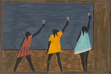 Jacob Lawrence. <em>In the North the Negro had better educational facilities</em>, from <em>The Migration Series</em>. 1940–41. Casein tempera on hardboard, 12 × 18&quot; (30.5 × 45.7 cm). Gift of Mrs. David M. Levy. © 2019 Jacob Lawrence/Artists Rights Society (ARS), New York