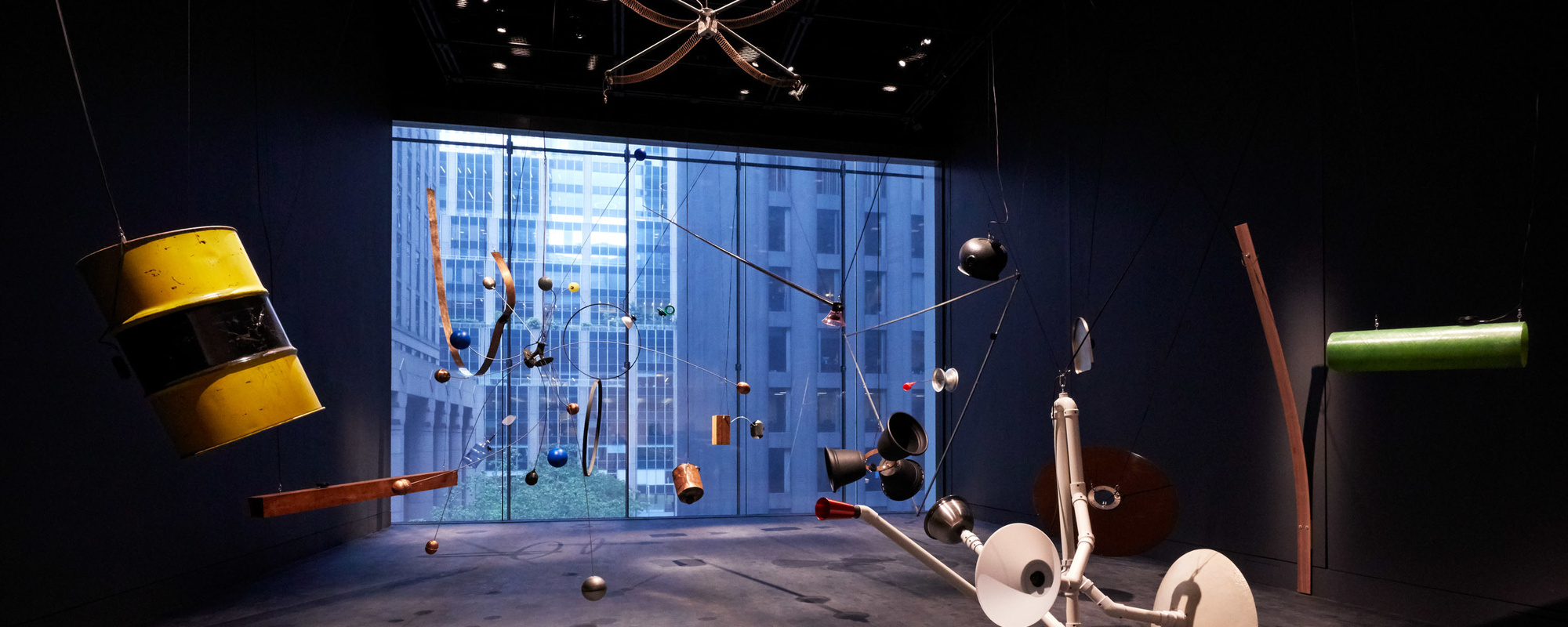 Rainforest V (variation 1). 1973/2015. Twenty objects, sound. Dimensions variable. Conceived by David Tudor, realized by Composers Inside Electronics, Inc. (John Driscoll, Phil Edelstein, and Matt Rogalsky). The Museum of Modern Art, New York. Committee on Media and Performance Art Funds. © 2019 David Tudor and Composers Inside Electronics Inc. Installation view, October 21, 2019–January 5, 2020, The Museum of Modern Art, New York. Image © 2019 The Museum of Modern Art. Photo: Heidi Bohnenkamp