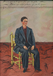 "Frida Kahlo. Self-Portrait with Cropped Hair. 1940. Oil on canvas, 15 3/4 × 11"" (40 × 27.9 cm). Gift of Edgar Kaufmann, Jr. © 2019 Banco de México Diego Rivera Frida Kahlo Museums Trust, Mexico, D.F./Artists Rights Society (ARS), New York"