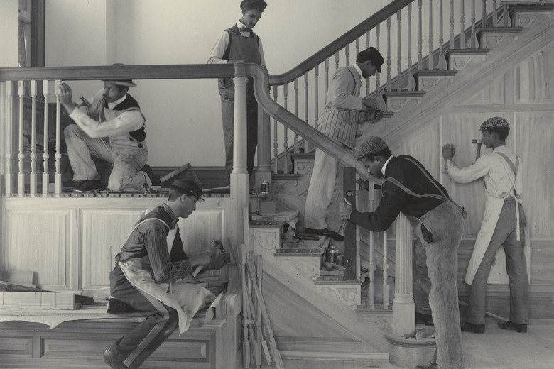 Frances Benjamin Johnston. <em>Stairway of the Treasurer's Residence: Students at Work from the Hampton Album</em>. 1899-1900. Platinum print. 7 9/16 × 9 9/16&quot; (19.2 × 24.3 cm). Gift of Lincoln Kirstein