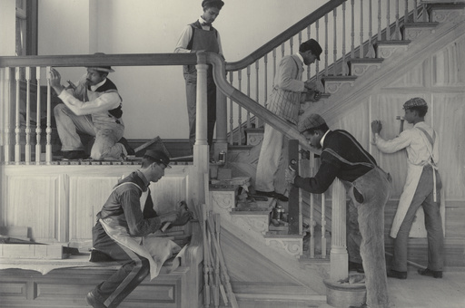 "Frances Benjamin Johnston. Stairway of the Treasurer's Residence: Students at Work from the Hampton Album. 1899-1900. Platinum print. 7 9/16 × 9 9/16"" (19.2 × 24.3 cm). Gift of Lincoln Kirstein"