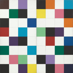 "Ellsworth Kelly. Colors for a Large Wall. 1951. Oil on canvas, sixty-four panels. 7' 10 1/2"" x 7' 10 1/2"" (240 x 240 cm). Gift of the artist. © 2018 Ellsworth Kelly"