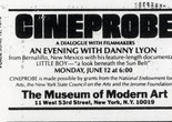 Cineprobe listing in the Village Voice. The Museum of Modern Art Archives, New York: Film C204