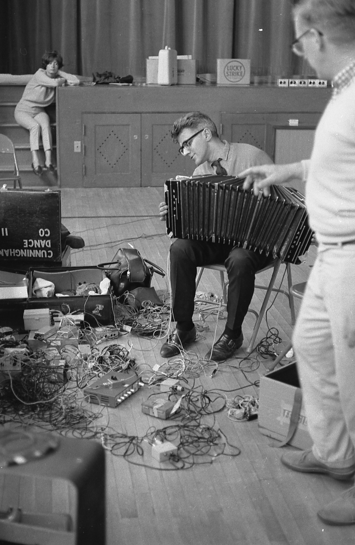 David Tudor's Bandoneon! (a combine), Berkeley Heights School rehearsal, Berkeley Heights, New Jersey, c. 1965