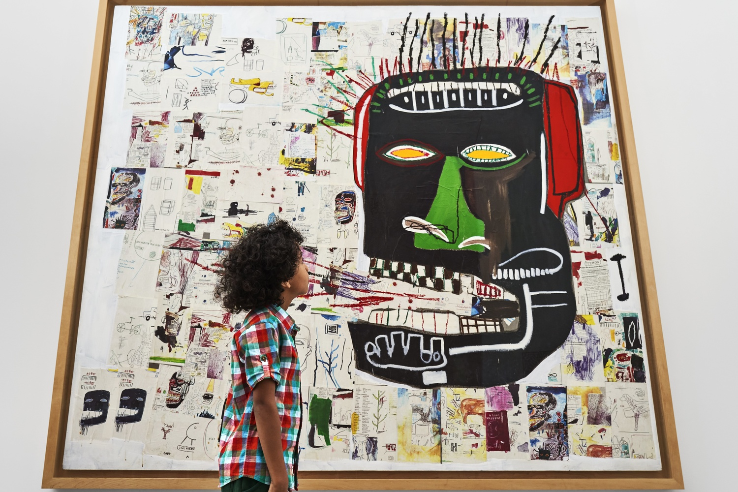 A view of the second-floor collection galleries. Jean-Michel Basquiat. Glenn. 1985. Acrylic, oilstick, and photocopy collage on canvas. Private collection. © 2019 Artists Rights Society (ARS), New York/ADAGP, Paris