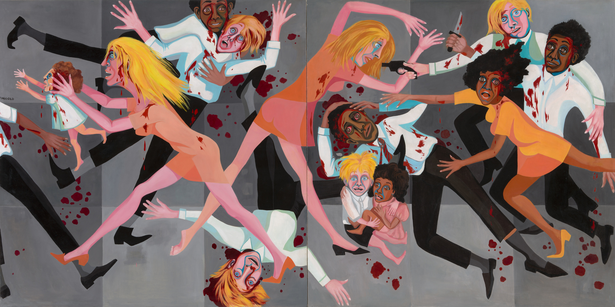 "Faith Ringgold. _American People Series #20: Die_. 1967. Oil on canvas, two panels. 72 × 144"" (182.9 × 365.8 cm). Acquired through the generosity of The Modern Women's Fund, Ronnie F. Heyman, Eva and Glenn Dubin, Lonti Ebers, Michael S. Ovitz, Daniel and Brett Sundheim, and Gary and Karen Winnick"