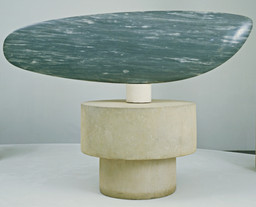 "Constantin Brancusi. Fish. Paris 1930. Blue-gray marble 21 x 71 x 5 1/2"" (53.3 x 180.3 x 14 cm), on three-part pedestal of one marble 5 1/8"" (13 cm) high, and two limestone cylinders 13"" (33 cm) high and 11"" (27.9 cm) high x 32 1/8"" (81.5 cm) diameter at widest point, Acquired through the Lillie P. Bliss Bequest (by exchange). © Succession Brancusi - All rights reserved (ARS) 2018"