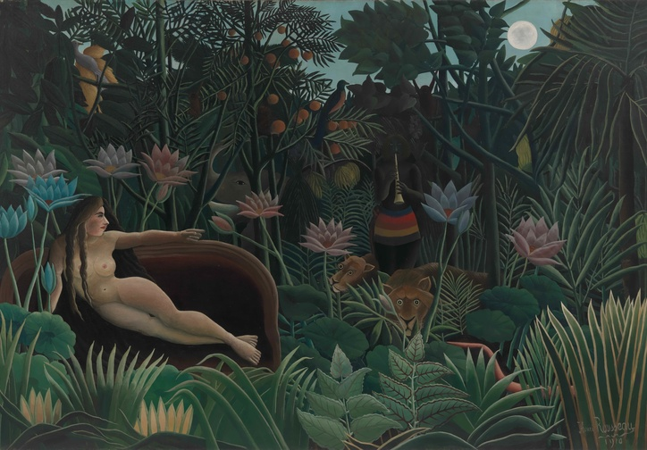Henri Rousseau. The Dream. 1910. Oil on canvas. 6′ 8 1/2″ x 9′ 9 1/2″ (204.5 x 298.5 cm). The Museum of Modern Art, New York. Gift of Nelson A. Rockefeller