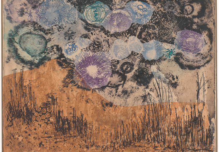 "Betye Saar. Amid Hallucinatory Moons. 1962. Etching with relief printing, plate: 14 15/16 × 19 3/16"" (37.9 × 48.8 cm); sheet: 16 5/16 × 20 7/8"" (41.4 × 53.1 cm). Gift of Julie and Bennett Roberts, Roberts Projects, Los Angeles"