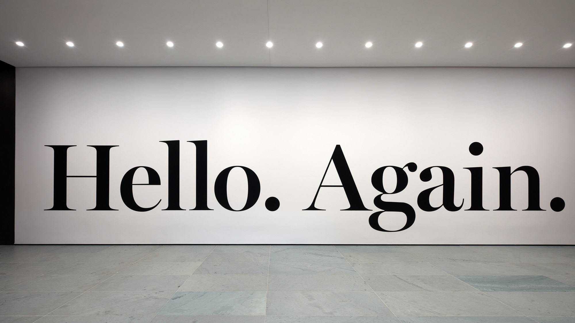 Installation view of the commission hello again. 2013. Matte vinyl, Edition 1; one artist's proof. Acquired on the occasion of the Museum of Modern Art's 2019 reopening. Digital Image © 2019 The Museum of Modern Art, New York. Photo: Heidi Bohnenkamp