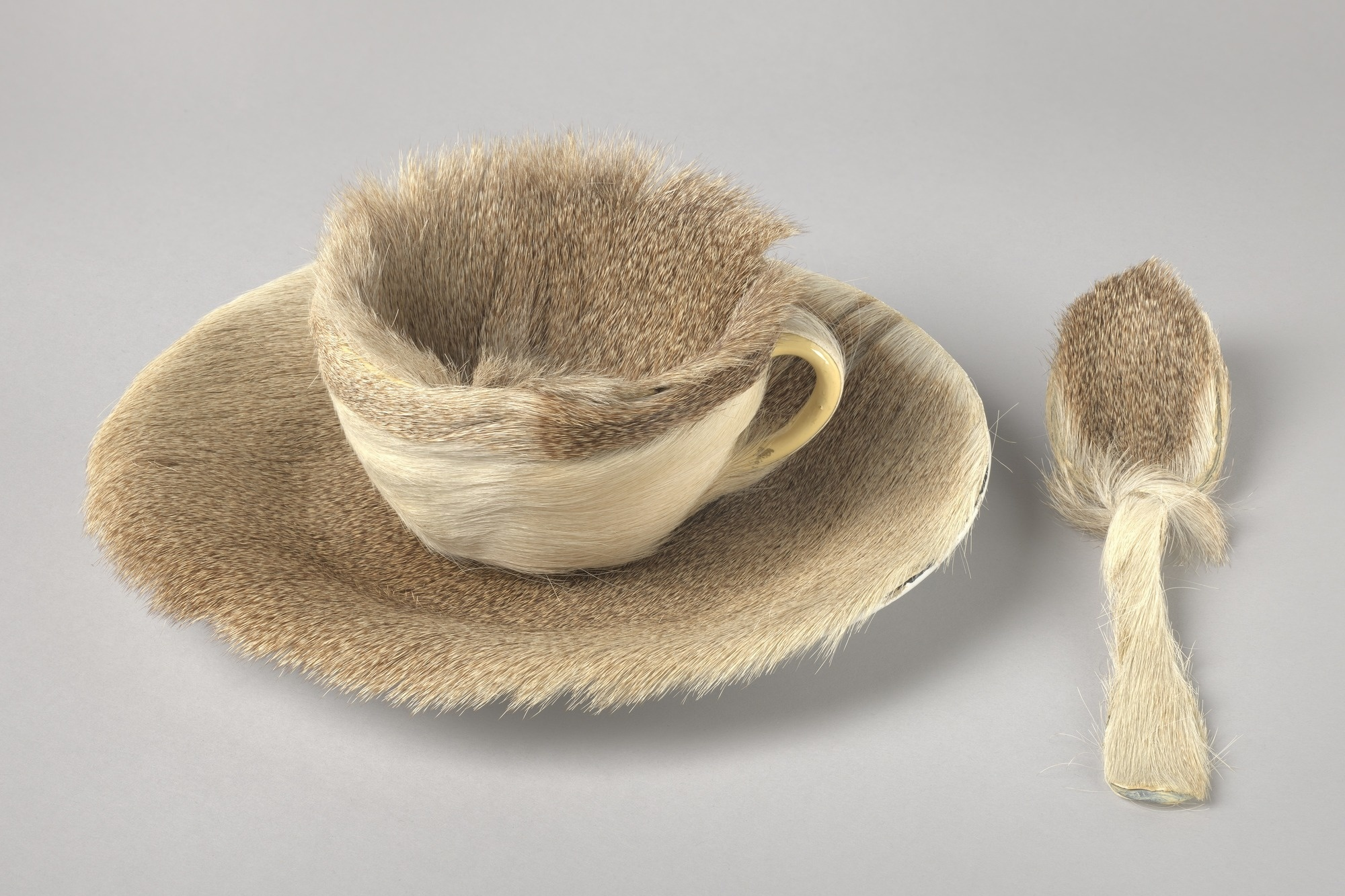 "Meret Oppenheim. Object. 1936. Fur-covered cup, saucer, and spoon; cup 4 3/8"" (10.9 cm) in diameter; saucer 9 3/8"" (23.7 cm) in diameter; spoon 8"" (20.2 cm) long, overall height 2 7/8"" (7.3 cm). Purchase. © 2019 Artists Rights Society (ARS), New York/Pro Litteris, Zurich"