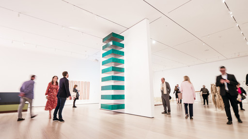 A view of the fourth-floor collection galleries. Shown: Donald Judd. Untitled. 1967. Lacquer on galvanized iron. Helen Acheson Bequest (by exchange) and gift of Joseph Helman. © 2019 Judd Foundation / Artists Rights Society (ARS), New York. Photo: Austin Donohue