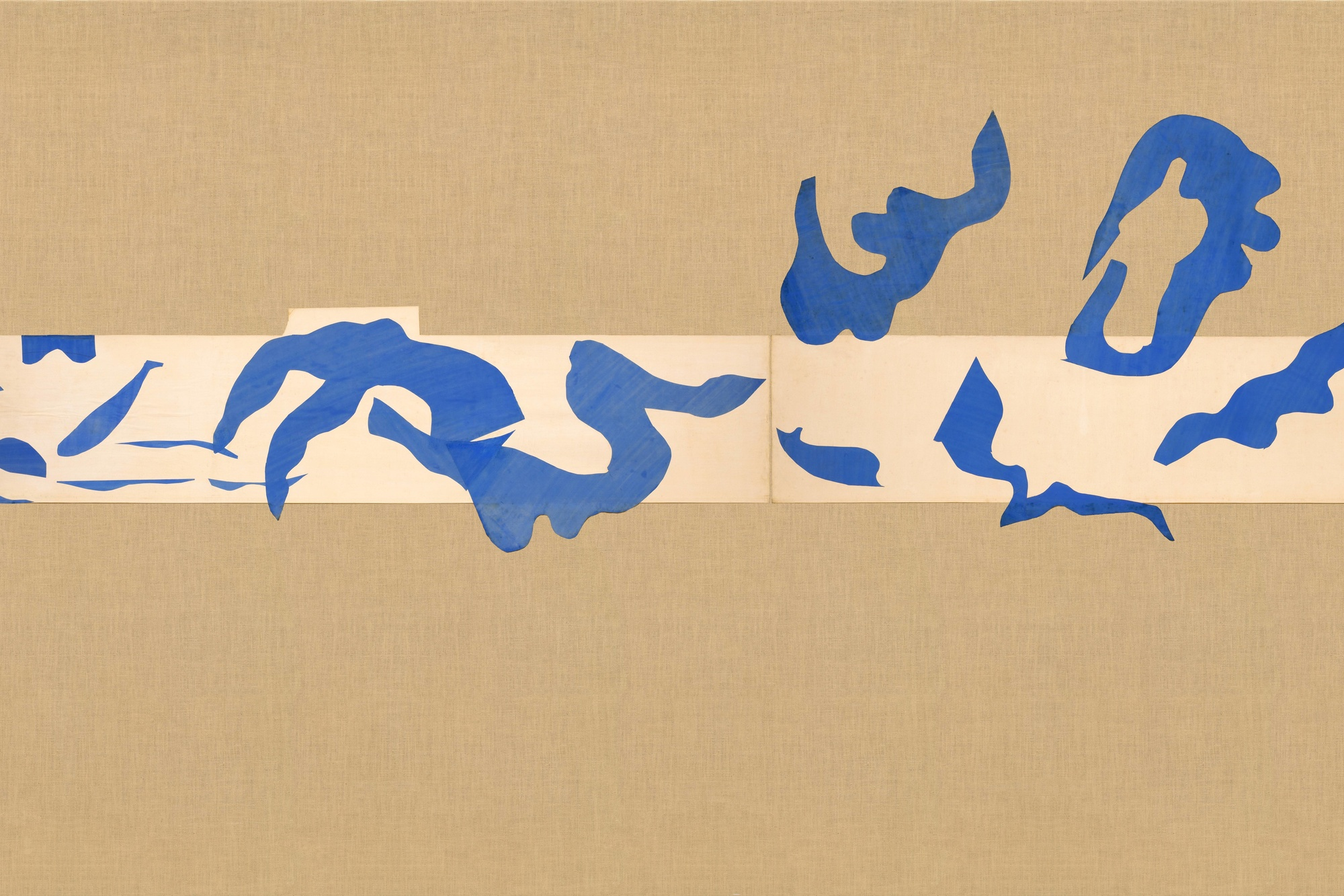"Henri Matisse. The Swimming Pool, Maquette for ceramic (realized 1999 and 2005). 1952. Gouache on paper, cut and pasted, on painted paper, overall 73"" × 53' 11"" (185.4 × 1643.3 cm). Installed as nine panels in two parts on burlap-covered walls 11' 4"" (345.4 cm) high. Frieze installed at a height of 5' 5"" (165 cm). Mrs. Bernard F. Gimbel Fund. Conservation was made possible by the Bank of America Art Conservation Project. © 2019 Succession H. Matisse/Artists Rights Society (ARS), New York"