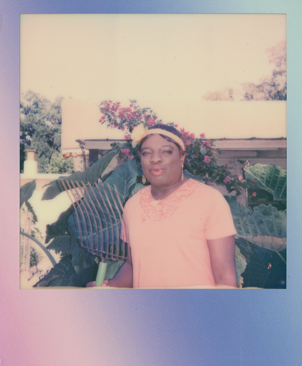 Polaroid of Florida Queen with rake