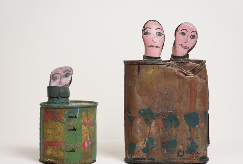 Nuha Al-Radi. Portrait of Zain Habboo. 1995. Painted metal canister and rock, 10 × 6″ (25.4 × 15.2 cm). Collection Aysar Akrawi. Photo: Kris Graves