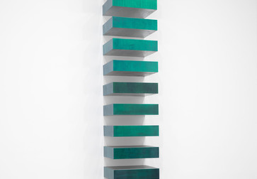 Donald Judd. Untitled. 1967. Lacquer on galvanized iron; 12 units, each 9 × 40 × 31″ (22.8 × 101.6 × 78.7 cm), installed vertically with 9″ (22.8 cm) intervals. The Museum of Modern Art, New York. Helen Acheson Bequest (by exchange) and gift of Joseph Helman. © 2019 Judd Foundation/Artists Rights Society (ARS), New York. Photo: John Wronn