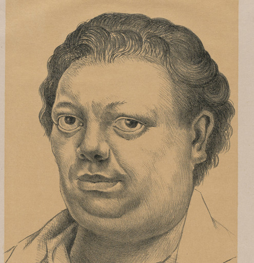 "Diego Rivera. Self Portrait (Autorretrato). Lithograph, composition: 15 7/8 x 11 1/4"" (40.3 x 28.6 cm); sheet: 24 7/8 x 18 7/8"" (63.2 x 47.9 cm). © 2017 Banco de México Diego Rivera Frida Kahlo Museums Trust, Mexico, D.F. / Artists Rights Society (ARS), New York"