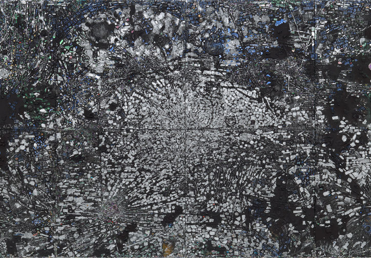 "Jack Whitten. Atopolis: For Édouard Glissant. 2014.  Acrylic on canvas, 8 panels,  124 1/2 × 248 1/2"" (316.2 × 631.2 cm). Acquired through the generosity of Sid R. Bass; Lonti Ebers; Agnes Gund; Henry and Marie-Josée Kravis; Jerry Speyer and Katherine Farley; and Daniel and Brett Sundheim"