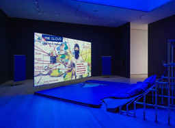 Hito Steyerl (German, born 1966). Liquidity Inc.. 2014. Video (color, sound; 30 min.) and architectural environment, Dimensions variable. Gift of the artist. The Museum of Modern Art, New York © 2019. Photographer: Denis Doorly