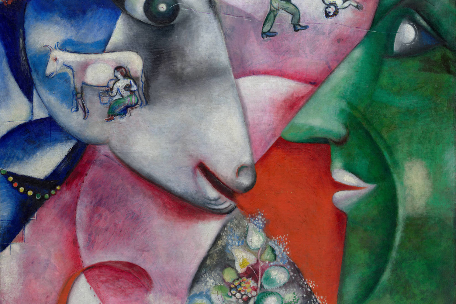 "Marc Chagall. I and the Village. 1911. Oil on canvas. 6' 3 5/8"" x 59 5/8"" (192.1 x 151.4 cm). Mrs. Simon Guggenheim Fund. © 2019 Artists Rights Society (ARS), New York / ADAGP, Paris"