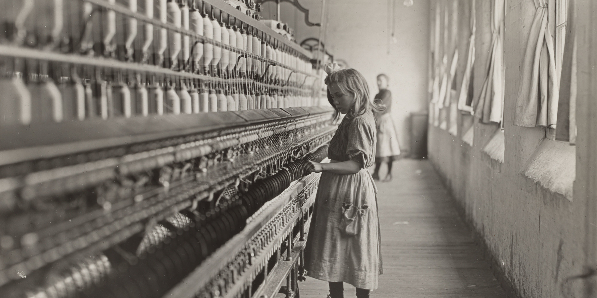 "Lewis W. Hine. Sadie Pfeifer, a Cotton Mill Spinner, Lancaster, South Carolina. 1908. Gelatin silver print, 10 1/2 × 13 1/2"" (26.7 × 34.3 cm). Purchase"