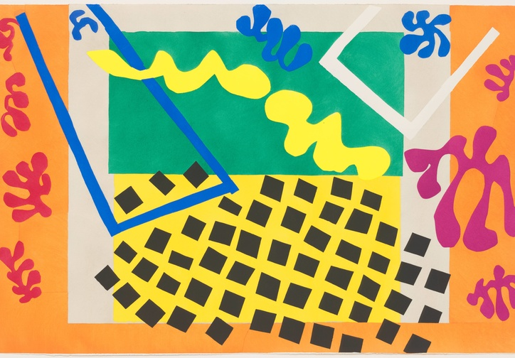 Henri Matisse. The Codomas (Les Codomas) from Jazz. 1947. One from a portfolio of 20 pochoirs, composition (irreg.) and sheet. Gift of the artist. © 2020 Succession H. Matisse/Artists Rights Society (ARS), New York