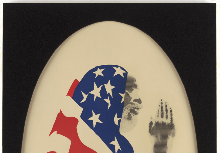 David Hammons. Pray for America. 1969. Screenprint and pigment on paper. Gift to The Museum of Modern Art and The Studio Museum in Harlem by the Hudgins Family in honor of David Rockefeller on his 100th birthday. © 2019 David Hammons