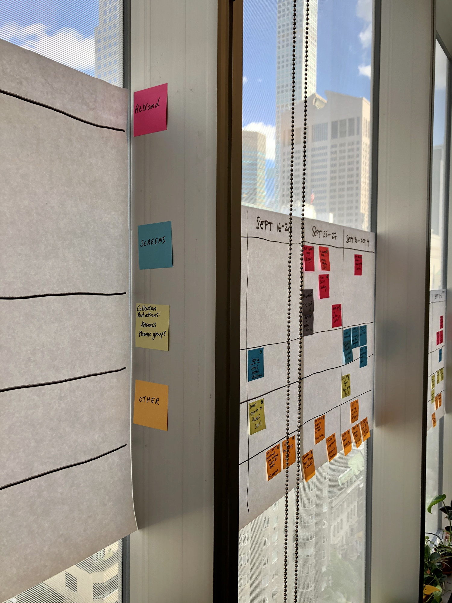 Post-it production timeline in MoMA's Digital Media department. Photo: Jennifer Tobias