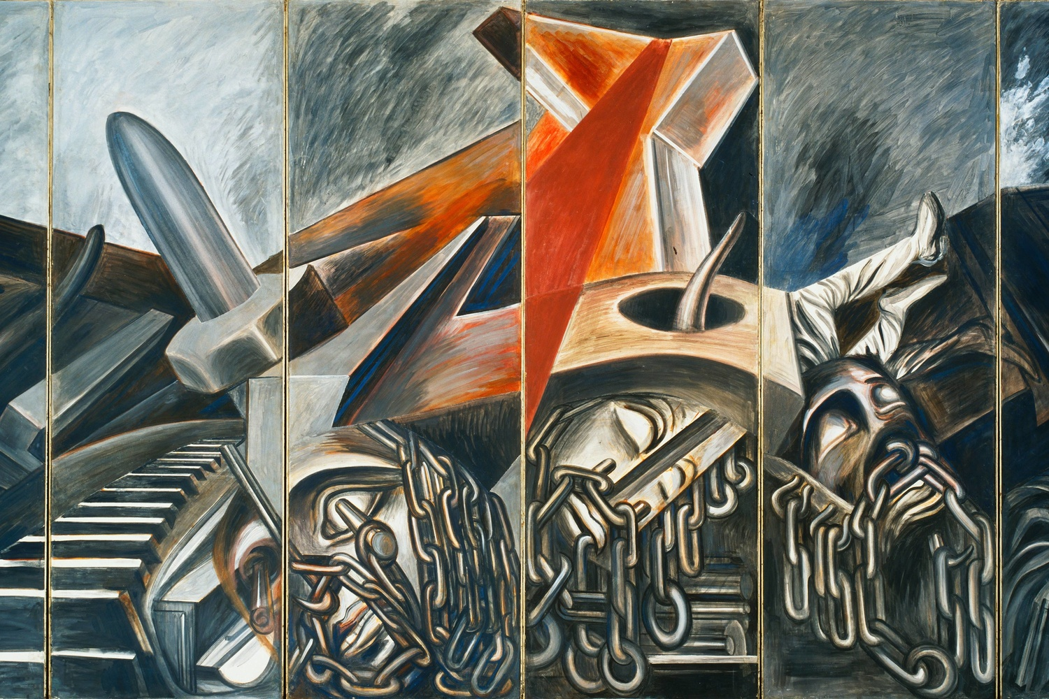 "José Clemente Orozco. Dive Bomber and Tank. 1940. Fresco, six panels, each 9' × 36"" (275 × 91.4 cm), overall 9 × 18' (275 × 550 cm). Commissioned through the Abby Aldrich Rockefeller Fund. © 2019 José Clemente Orozco/Artists Rights Society (ARS), New York/SOMAAP, Mexico"