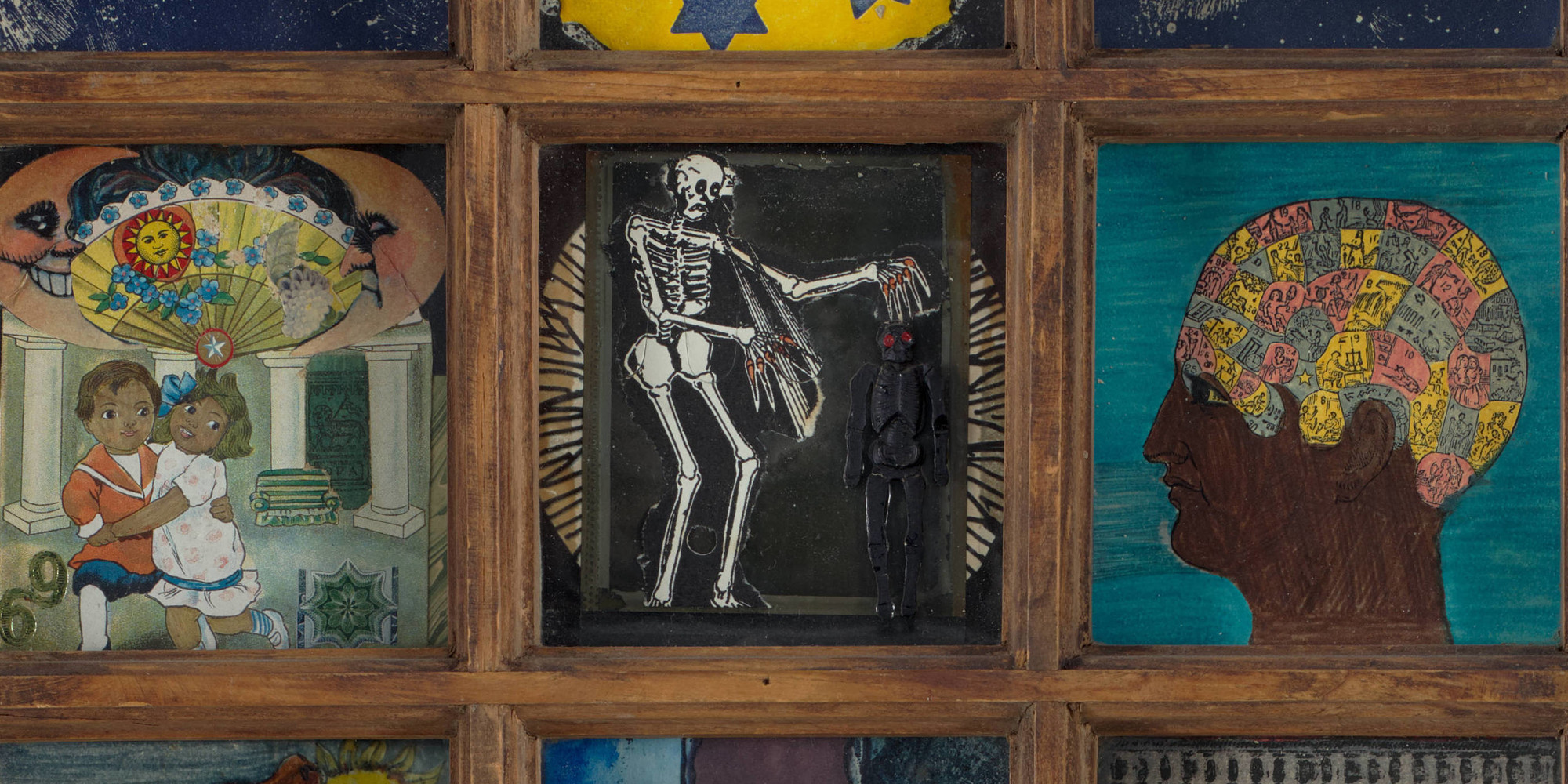 Betye Saar. <em>Black Girl's Window</em> (detail). 1969. Wooden window frame with paint, cut-and-pasted printed and painted papers, daguerreotype, lenticular print, and plastic figurine, 35 3/4 × 18 × 1 1/2&quot; (90.8 × 45.7 × 3.8 cm). Gift of Candace King Weir through The Modern Women's Fund, and Committee on Painting and Sculpture Funds
