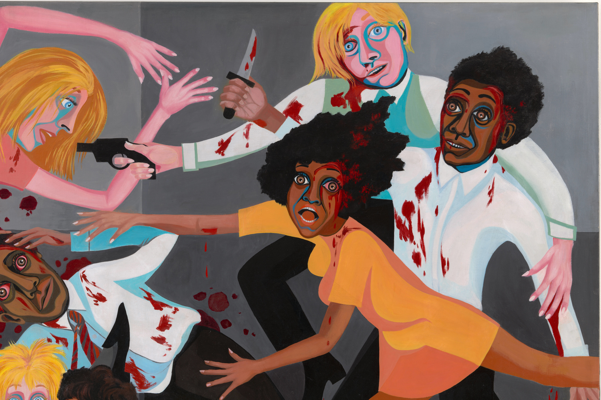 "Faith Ringgold. American People Series #20: Die (detail). 1967. Oil on canvas, two panels, 72 × 144"" (182.9 × 365.8 cm). Acquired through the generosity of The Modern Women's Fund, Ronnie F. Heyman, Eva and Glenn Dubin, Lonti Ebers, Michael S. Ovitz, Daniel and Brett Sundheim, and Gary and Karen Winnick"