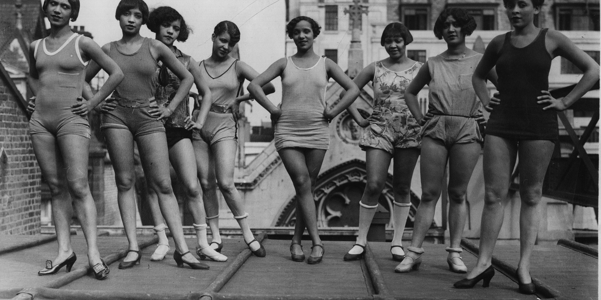 A photo featured in Wayward Lives, Beautiful Experiments: Champion Charleston dancer Gwendolyn Graham with the chorus of the revue Blackbirds taking part in their first rehearsal on the roof of the Pavilion Theater in London in 1928. Photo by General Photographic Agency/Getty Images