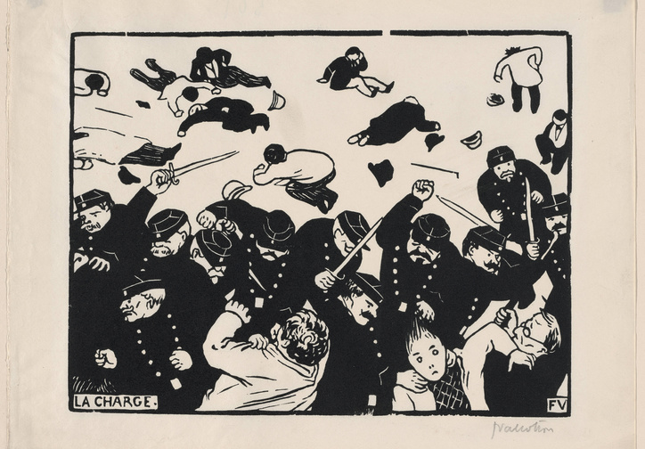 Félix Vallotton. The Charge. 1893. Woodcut. Composition: 7 7/8 × 10 1/4 in. (20 × 26 cm). The Museum of Modern Art, New York. Larry Aldrich Fund, 1954. Photo by Robert Gerhardt