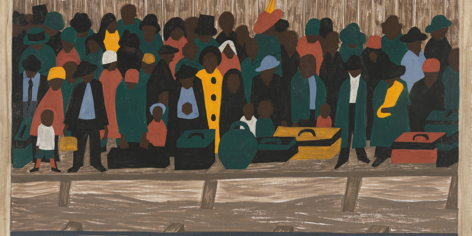 "Jacob Lawrence. And the migrants kept coming. 1940–41. Casein tempera on hardboard, 12 × 18"" (30.5 × 45.7 cm). Gift of Mrs. David M. Levy. © 2020 Jacob Lawrence/Artists Rights Society (ARS), New York"