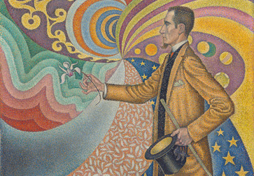 Paul Signac. Opus 217. Against the Enamel of a Background Rhythmic with Beats and Angles, Tones, and Tints, Portrait of M. Félix Fénéon in 1890. 1890. Oil on canvas. The Museum of Modern Art, New York. Gift of Mr. and Mrs. David Rockefeller, 1991. Photo by Jonathan Muzikar. © 2020 Artists Rights Society (ARS), New York / ADAGP, Paris