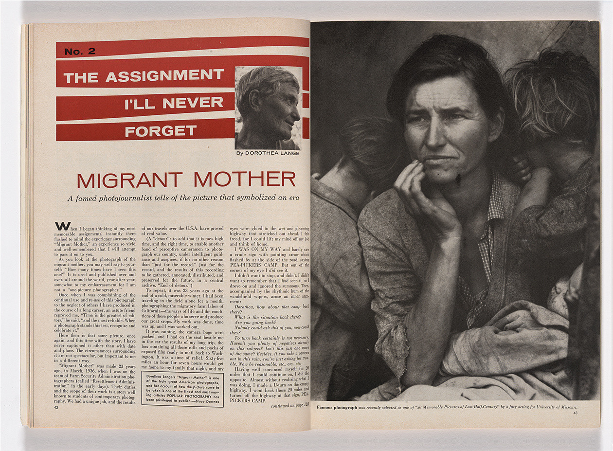 """The Assignment I'll Never Forget: Migrant Mother,"" by Dorothea Lange, Popular Photography (February 1960)"