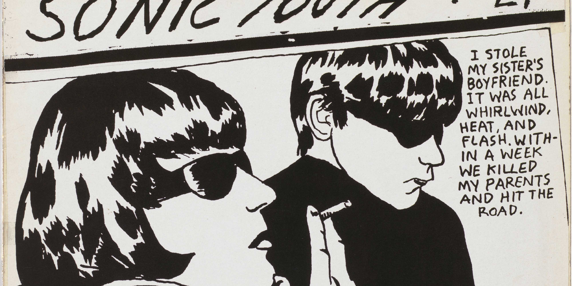 "Sonic Youth with (cover) Raymond Pettibon. Goo. 1990. 12-inch vinyl record, cover: 12 5/16 × 12 3/8 × 1/16"" (31.2 × 31.4 × 0.2 cm). Publisher: David Geffen Company, Los Angeles, CA. Acquired from The Eileen and Michael Cohen Collection through the The Sue and Edgar Wachenheim III Endowment. © 2020 Raymond Pettibon"