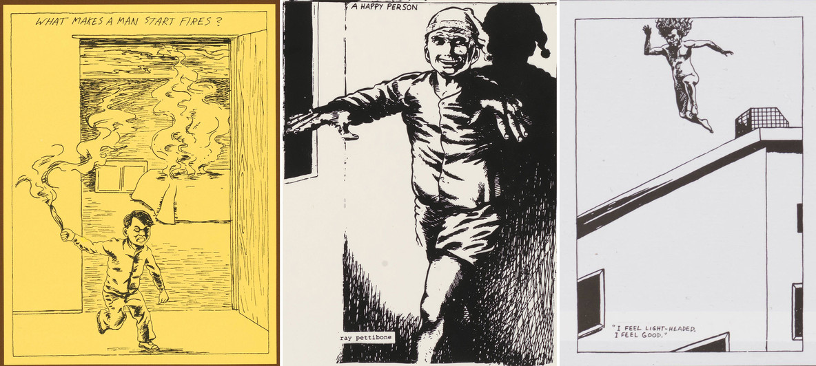 Pettibon drawings on Minutemen LPs, from left: the cover image of What Makes a Man Start Fires? (1983), a detail from the back cover of Buzz or Howl Under the Influence of Heat (1983), and a detail from the gatefold of Double Nickels on the Dime (1984)