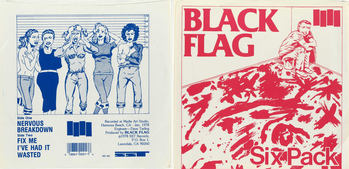 "Raymond Pettibon's drawings on Black Flag 7"" singles: from left, the back cover of ""Nervous Breakdown"" (1978) and the cover of ""Six Pack"" (1981)"