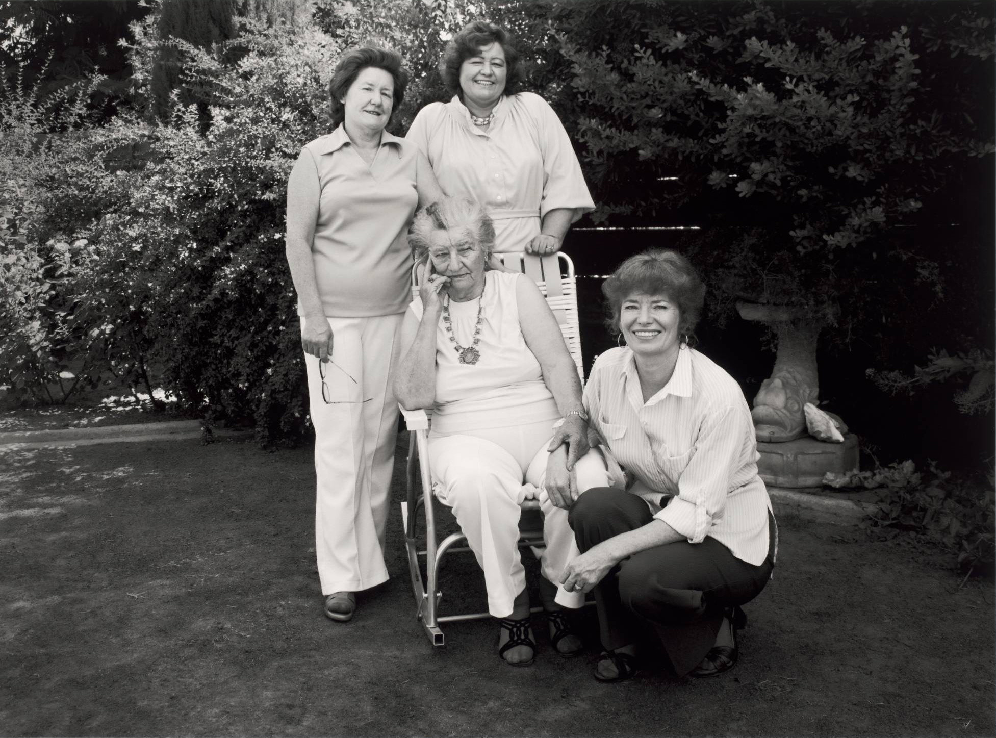 Bill Ganzel. Migrant Mother, Florence Thompson, and her daughters Katherine McIntosh, Ruby Sprague and Norma Rydlewski at Norma's House, Modesto, California. June 1979