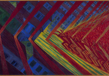 Luigi Russolo. The Revolt. c. 1911. Oil on canvas. 59 3/8 × 90 13/16″ (150.8 × 230.7 cm). Kunstmuseum Den Haag