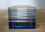 Donald Judd. Untitled. 1969. Clear anodized aluminum and blue Plexiglas; four units, each 48 × 60 × 60″ (121.9 × 152.4 × 152.4 cm), with 12″ (30.5 cm) intervals. Overall: 48 × 276 × 60″ (121.9 × 701 × 152.4 cm). Saint Louis Art Museum. Funds given by the Shoenberg Foundation, Inc. © 2020 Judd Foundation / Artists Rights Society (ARS), New York