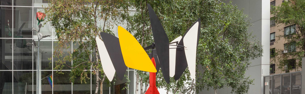 "Alexander Calder. Sandy's Butterfly. 1964. Steel, stainless sheet steel, iron rods, and paint, 12' 8"" × 9' 2"" × 8' 7"" (386 × 279 × 261 cm). Gift of the artist. © 2021 Calder Foundation, New York/Artists Rights Society (ARS), New York"