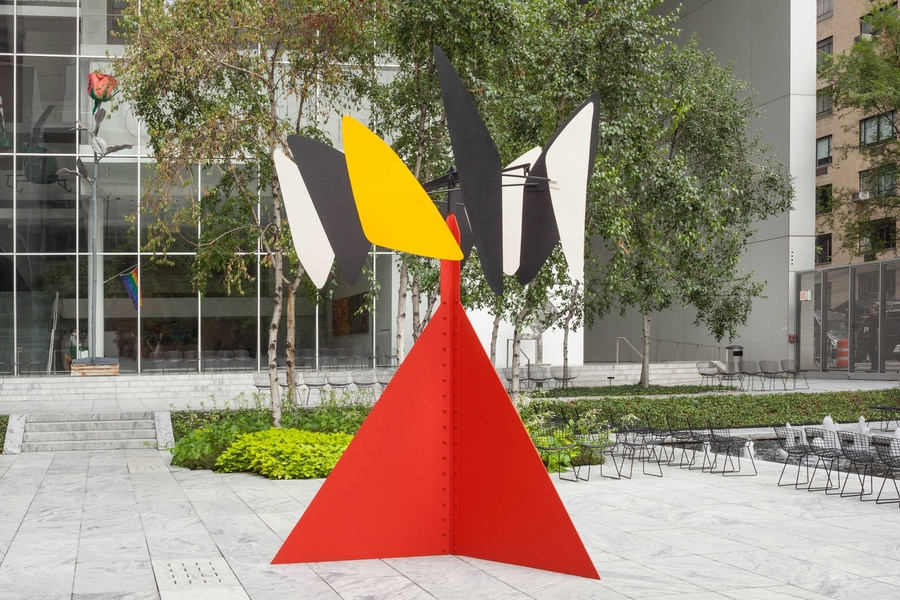 "Alexander Calder. Sandy's Butterfly. 1964. Painted stainless sheet steel and iron rods, 12' 8"" × 9' 2"" × 8' 7"" (386 × 279 × 261 cm). Gift of the artist. © 2020 Calder Foundation, New York/Artists Rights Society (ARS), New York"