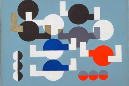 Sophie Taeuber-Arp. <em>Composition of Circles and Overlapping Angles</em>. 1930. Oil on canvas. 19 1/2 × 25 3/4&quot; (49.5 × 64.1 cm). The Riklis Collection of McCrory Corporation. © 2020 Artists Rights Society (ARS), New York/VG Bild-Kunst, Bonn