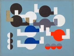 "Sophie Taeuber-Arp. Composition of Circles and Overlapping Angles. 1930. Oil on canvas. 19 1/2 × 25 3/4"" (49.5 × 64.1 cm). The Riklis Collection of McCrory Corporation. © 2020 Artists Rights Society (ARS), New York/VG Bild-Kunst, Bonn"