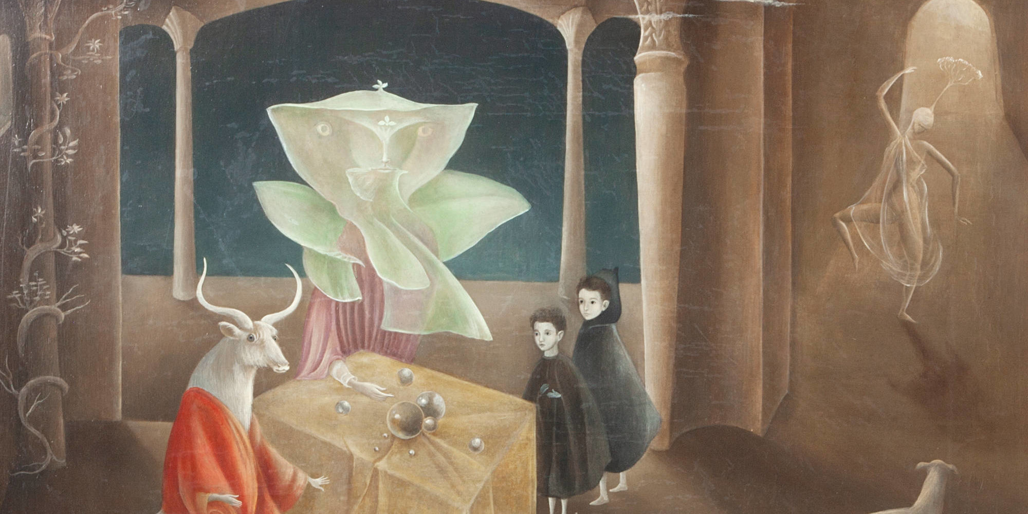 "Leonora Carrington. And Then We Saw the Daughter of the Minotaur. 1953. Oil on canvas, 23 5/8 × 27 9/16"" (60 × 70 cm). Gift of Joan H. Tisch (by exchange). © 2020 Leonora Carrington/Artists Rights Society (ARS), New York"