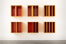"Donald Judd. Untitled. 1986. Douglas Fir plywood and orange Plexiglas. 6 units, each: 39 3/8 × 39 3/8 × 19 11/16"" (100 × 100 × 50 cm) with 19 11/16""(50 cm) intervals. Overall: 98 1/2 x 157 5/8 x 29 1/2"" (250.2 x 400.4 x 74.9). Marieluise Hessel Collection, Hessel Museum of Art, Center for Curatorial Studies, Bard College, Annandale-on-Hudson, New York. © 2020 Judd Foundation / Artists Rights Society (ARS), New York"