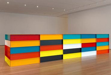"Donald Judd. Untitled.1991. Enameled aluminum. 59"" x 24' 7 ¼"" x 65"" (150 x 750 x 165 cm). The Museum of Modern Art, New York. Bequest of Richard S. Zeisler and gift of Abby Aldrich Rockefeller (both by exchange) and gift of Kathy Fuld, Agnes Gund, Patricia Cisneros, Doris Fisher, Mimi Haas, Marie-Josée and Henry R. Kravis, and Emily Spiegel Page. © 2020 Judd Foundation / Artists Rights Society (ARS), New York"